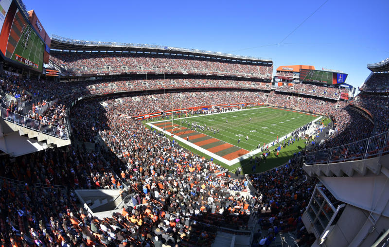 The Cleveland Browns play the Los Angeles Chargers at FirstEnergy Stadium in the first half during an NFL football game, Sunday, Oct. 14, 2018, in Cleveland. (AP Photo/David Richard)