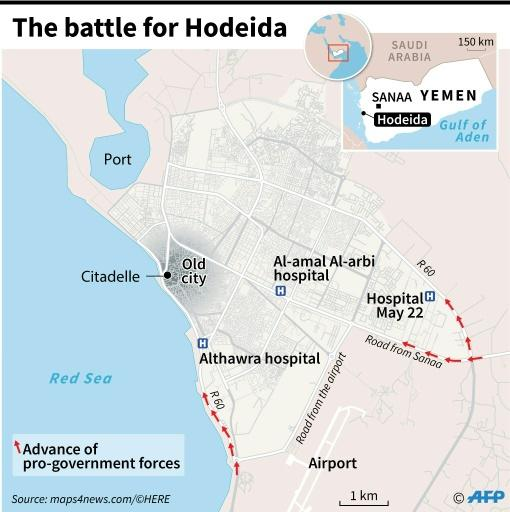 Map locating Hodeida in Yemen, where pro-government forces are attempting to retake the city from the rebels