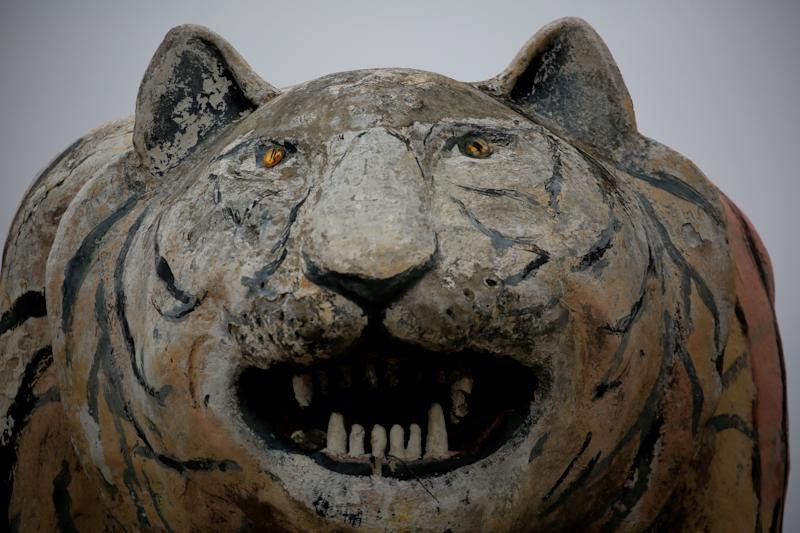 A sculpture depicting a tiger in El Tigre, Venezuela, on June 2. (Photo: Ivan Alvarado/Reuters)