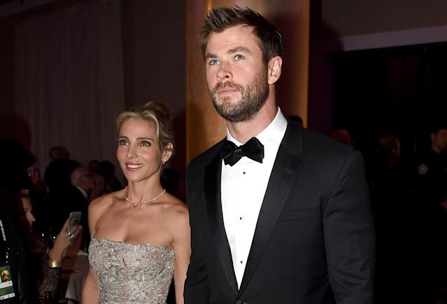 Chris Hemsworth, with wife Elsa Pataky, shared the sacrifices his wife made for his career. (Photo: Getty Images)