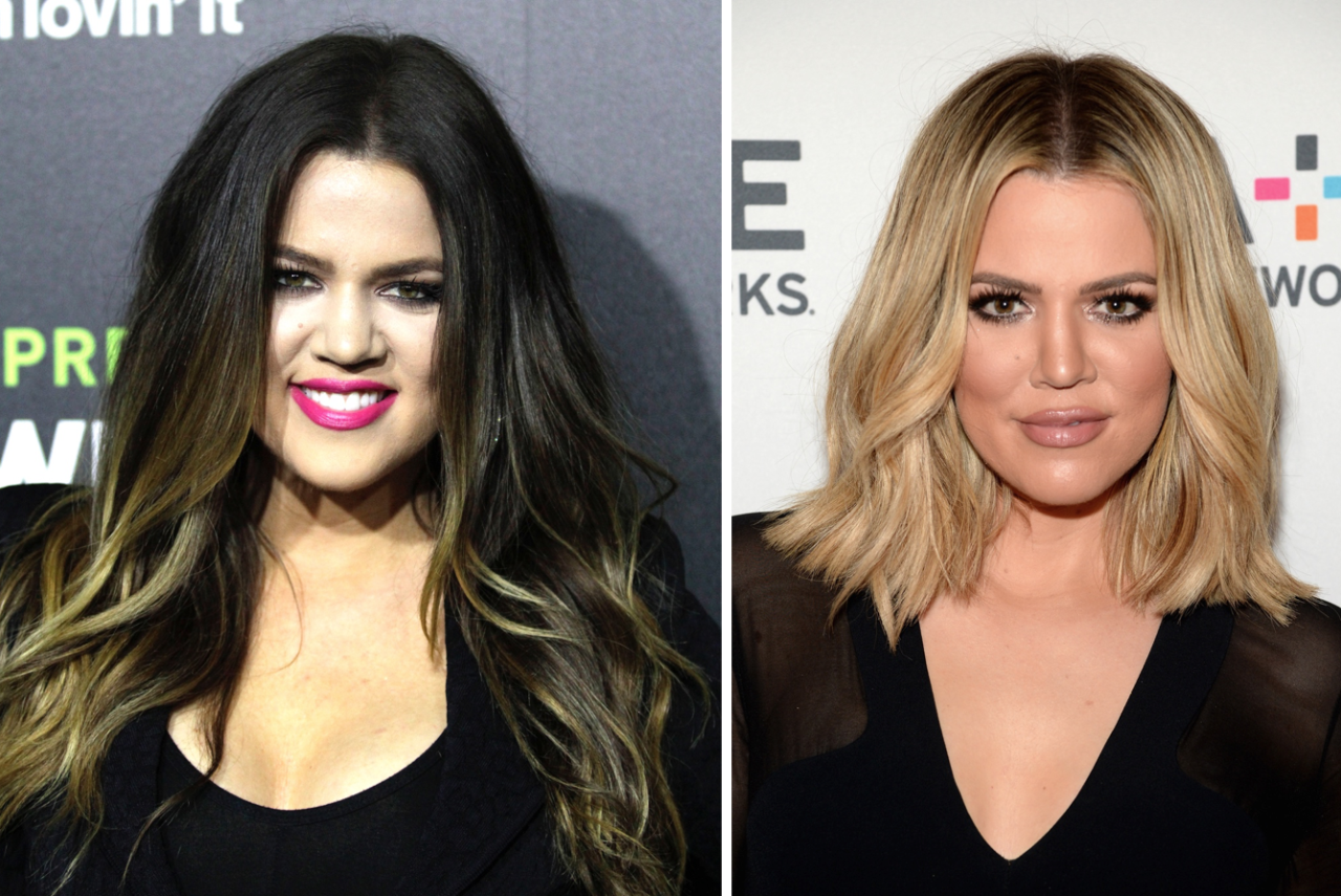 <p>Khloe's high-profile divorce led to a sophisticated blonde bob.<br /><i>[Photo: PA/Getty]</i> </p>