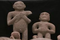 Pre-Columbian stone statues, repatriated from the Brooklyn Museum in New York, U.S., are displayed for its classification by archaeologists at the facilities of the Costa Rica's National Museum, in Pavas