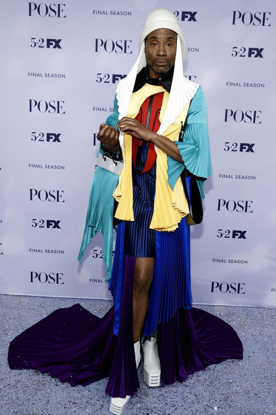 <p>The actor wore a multicoloured outfit with a white headdress to the Pose season three premiere in New York. </p>