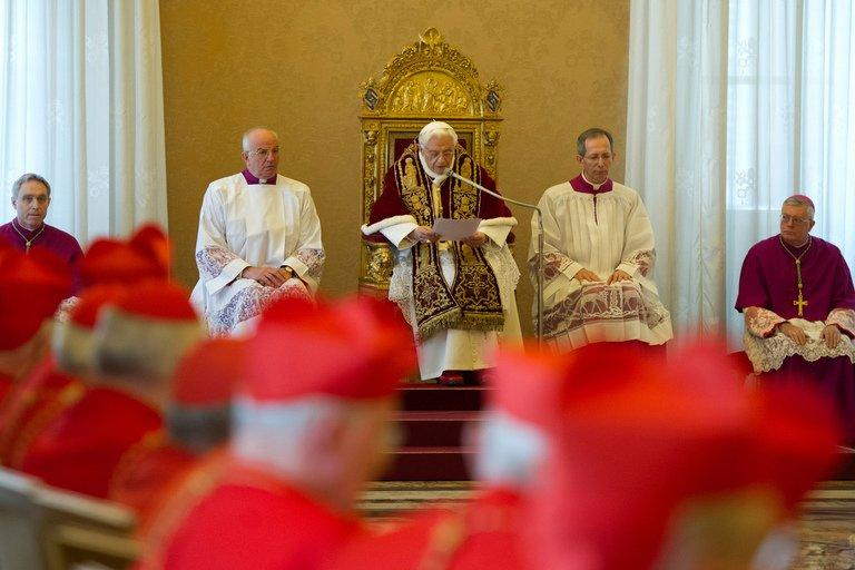 This handout picture released by the Vatican Press Office on February 11, 2013 shows Pope Benedict XVI addressing an ordinary consistory at The Vatican the same day. Pope Benedict XVI announced he will resign on February 28, a Vatican spokesman told AFP, which will make him the first pope to do so in centuries