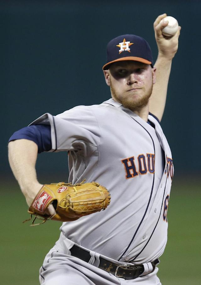 Houston Astros starting pitcher Brett Oberholtzer delivers against the Cleveland Indians in the first inning of a baseball game on Friday, Sept. 20, 2013, in Cleveland. (AP Photo/Mark Duncan)