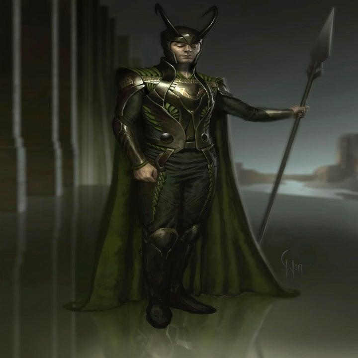 Illustration of Loki in armor, with a cape, his horned helmet, and holding a spear