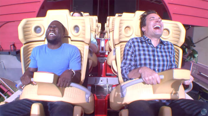 <p>It's like the grown men were kids again on their wild ride. We actually feel like we can still hear them screaming. (Photo: <em>The Tonight Show Starring Jimmy Fallon</em> via YouTube) </p>