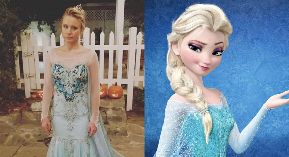 <p>'Frozen' star Kristen Bell dressed as Elsa at her daughter's request, despite playing her sister Anna in the hit Disney animation (Instagram/Disney) </p>