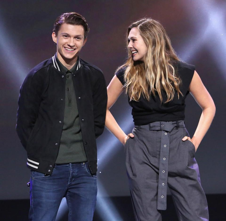 <p>The youngest members of the Avengers share a laugh during the Infinity War presentation, which culminated with a roof-raising first trailer. (Photo: Disney) </p>