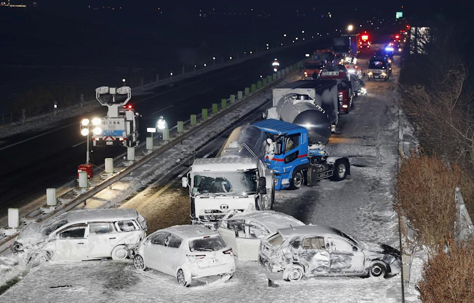 General view shows the site where cars were involved in a series of crashes when a snow storm struck a stretch of highway on the Tohoku Expressway in Osaki, Miyagi prefecture, northern Japan January 19, 2021. Kyodo via REUTERS ATTENTION EDITORS - THIS IMAGE WAS PROVIDED BY A THIRD PARTY. MANDATORY CREDIT. JAPAN OUT. NO COMMERCIAL OR EDITORIAL SALES IN JAPAN.