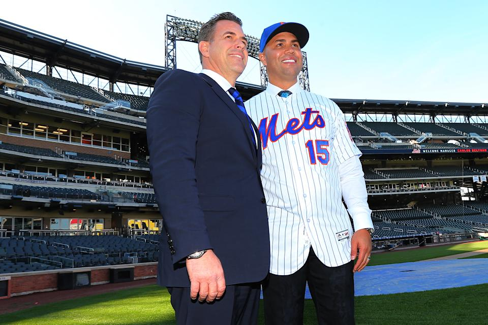 NEW YORK, NY - NOVEMBER 04: Carlos Beltran poses with General Manager Brodie Van Wagenen after a press conference naming him as the team's new manager at Citi Field on November 4, 2019 in New York City. (Photo by Rich Schultz/Getty Images)