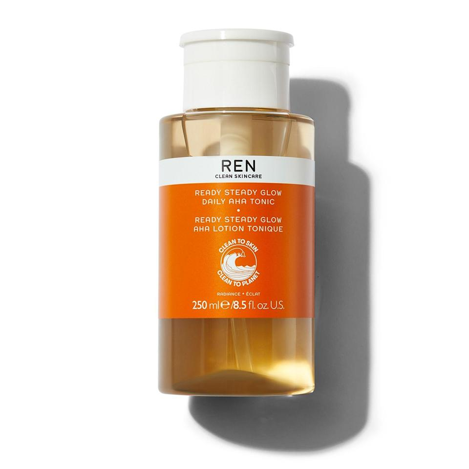"""<p><strong>Ren Clean Skincare</strong></p><p>sephora.com</p><p><strong>$38.00</strong></p><p><a href=""""https://go.redirectingat.com?id=74968X1596630&url=https%3A%2F%2Fwww.sephora.com%2Fproduct%2Fready-steady-glow-daily-aha-tonic-P428095&sref=https%3A%2F%2Fwww.goodhousekeeping.com%2Fbeauty-products%2Fg36618407%2Fbest-toner-combination-skin%2F"""" rel=""""nofollow noopener"""" target=""""_blank"""" data-ylk=""""slk:Shop Now"""" class=""""link rapid-noclick-resp"""">Shop Now</a></p><p>To get a great glow, Dr. Frank recommends this formula from Ren because """"[it's] loaded with lactic acid, and is strong enough for <a href=""""https://www.goodhousekeeping.com/beauty/anti-aging/g27192702/best-moisturizer-for-oily-acne-prone-skin/"""" rel=""""nofollow noopener"""" target=""""_blank"""" data-ylk=""""slk:oily areas"""" class=""""link rapid-noclick-resp"""">oily areas</a> yet gentle enough for sensitive cheeks."""" It also <strong>has <a href=""""https://www.goodhousekeeping.com/beauty/anti-aging/a30982749/what-is-salicylic-acid/"""" rel=""""nofollow noopener"""" target=""""_blank"""" data-ylk=""""slk:salicylic acid"""" class=""""link rapid-noclick-resp"""">salicylic acid</a> to fight clogged pores and <a href=""""https://www.goodhousekeeping.com/beauty/anti-aging/a29177917/azelaic-acid-acne/"""" rel=""""nofollow noopener"""" target=""""_blank"""" data-ylk=""""slk:azelaic acid"""" class=""""link rapid-noclick-resp"""">azelaic acid</a> to up your glow and even skin tone</strong>. <br></p>"""