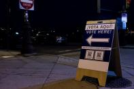 A sign is seen outside of The Philadelphia High School for Creative and Performing Arts, an early voting location for the upcoming presidential election, in Philadelphia, Pennsylvania