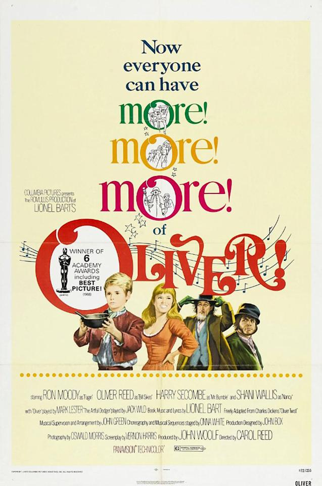 <p>This film, directed by England's Sir Carol Reed, was the only musical that was directed by someone who was born outside the U.S. to win Best Picture. <i>Oliver!</i> won five Oscars, not counting a special award to Oona White for her choreography. The film, which received 11 noms, was based on Lionel Bart's stage musical, which opened in London in 1960. (Photo: Columbia Pictures) </p>