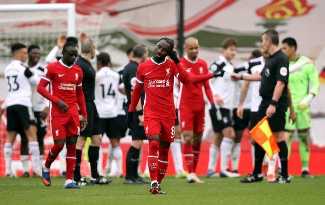 Liverpool players after defeat by Fulhamague – Anfield