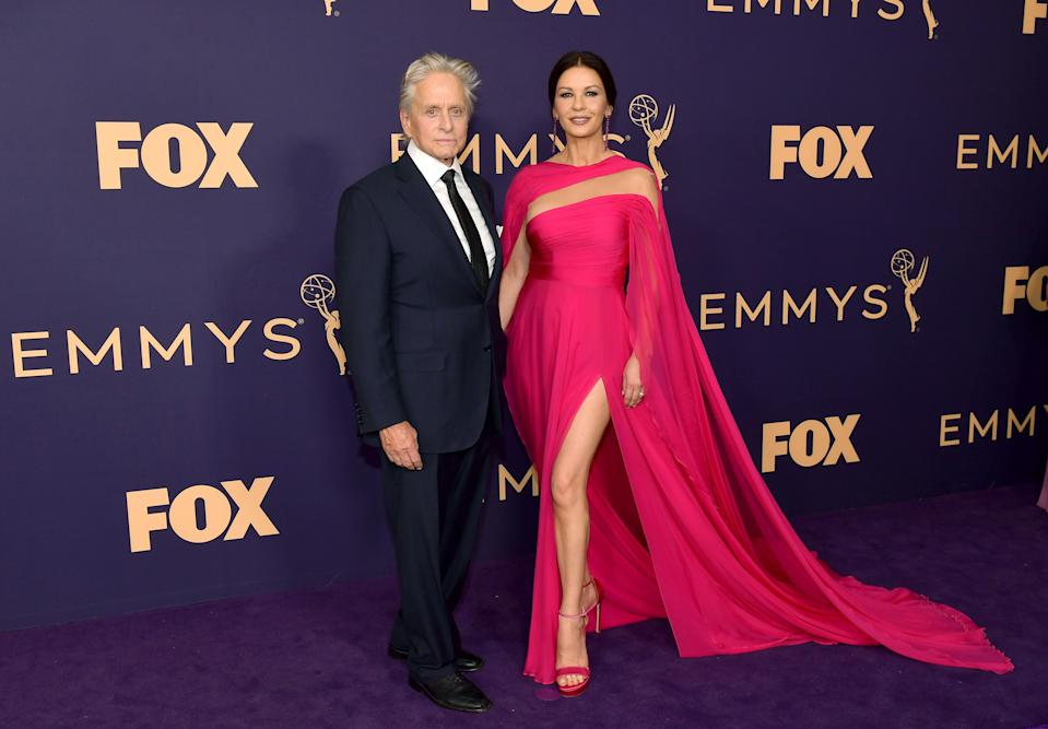 Michael Douglas (L) and Catherine Zeta-Jones attend the 71st Emmy Awards at Microsoft Theater on September 22, 2019 in Los Angeles, California. (Photo by Matt Winkelmeyer/Getty Images)