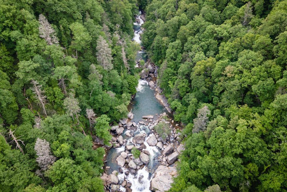 Drone View of River Gorge in Blue Ridge Mountains of North Carolina