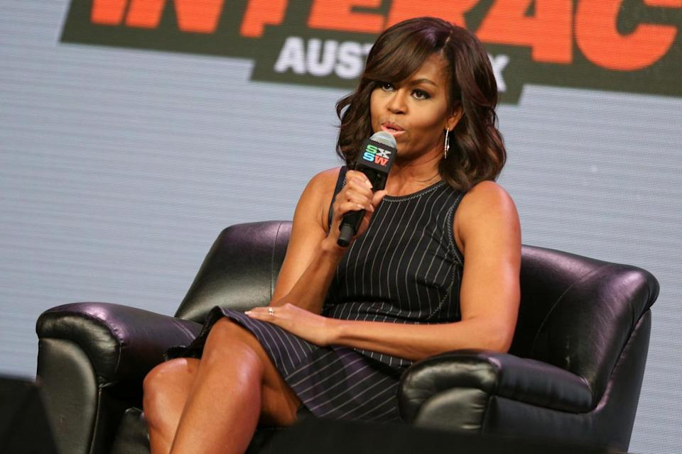 <p>To talk with Queen Latifah, Sophia Bush, Diane Warren, and Missy Elliott about her Let Girls Learn initiative, Michelle Obama was all business. She announced during the chat that she wouldn't be running for president after her husband vacates his office, but would try to change the world in other ways. She appropriately wore a pinstripe sheath to deliver this inspiring news. <i>Photo: AP</i></p>