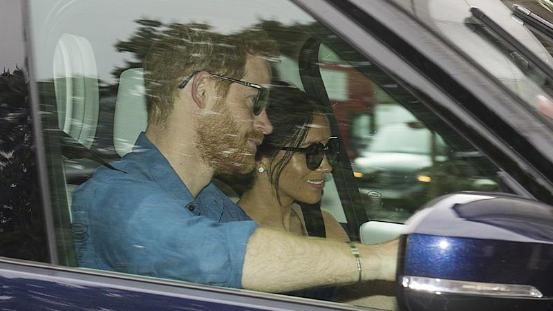 The newly married Duke and Duchess of Sussex were casual and beaming as they returned to the palace after their whirlwind weekend.