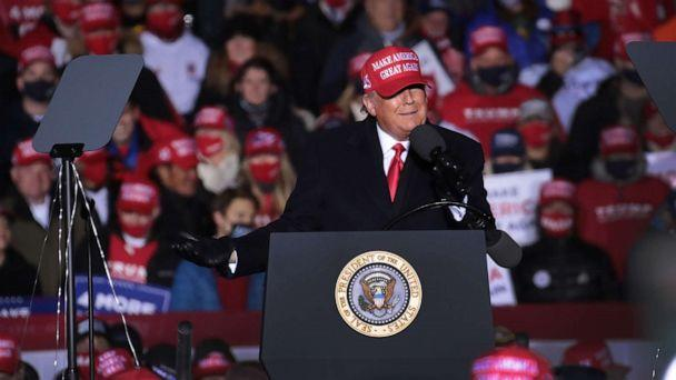 PHOTO: President Donald Trump speaks to supporters during a campaign rally at the Kenosha Regional Airport, Nov. 2, 2020, in Kenosha, Wisconsin. (Scott Olson/Getty Images, FILE)