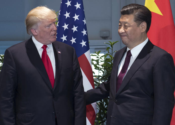 President Trump and Chinese President Xi Jinping arrive for a meeting on the sidelines of the G-20 summit in Hamburg, Germany, on July 8, 2017. (Photo: Saul Loeb/Pool Photo via AP)