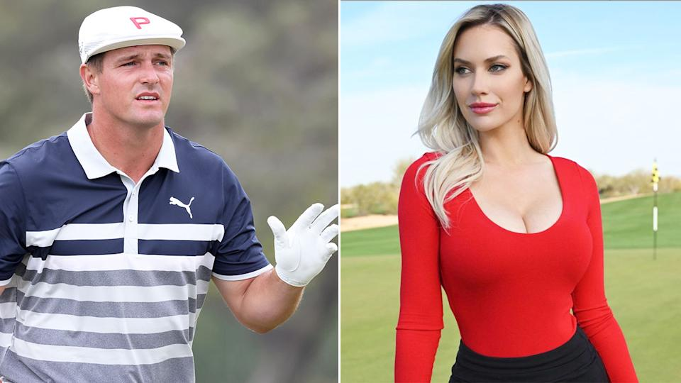 Pictured here, Bryson DeChambeau at the 2021 US Open and Paige Spiranac on a golf course.