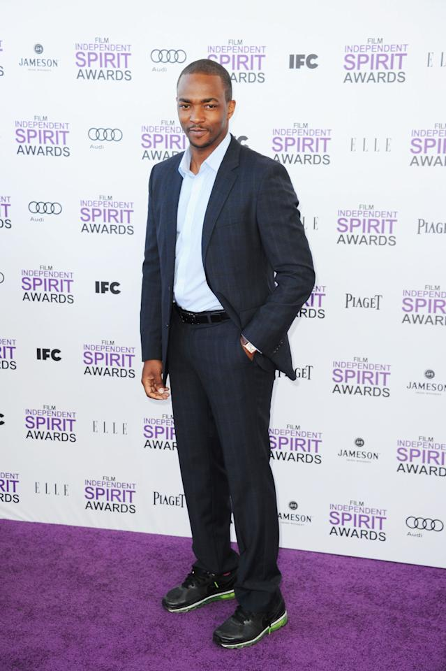 SANTA MONICA, CA - FEBRUARY 25:  Actor Anthony Mackie arrives at the 2012 Film Independent Spirit Awards on February 25, 2012 in Santa Monica, California.  (Photo by Alberto E. Rodriguez/Getty Images)