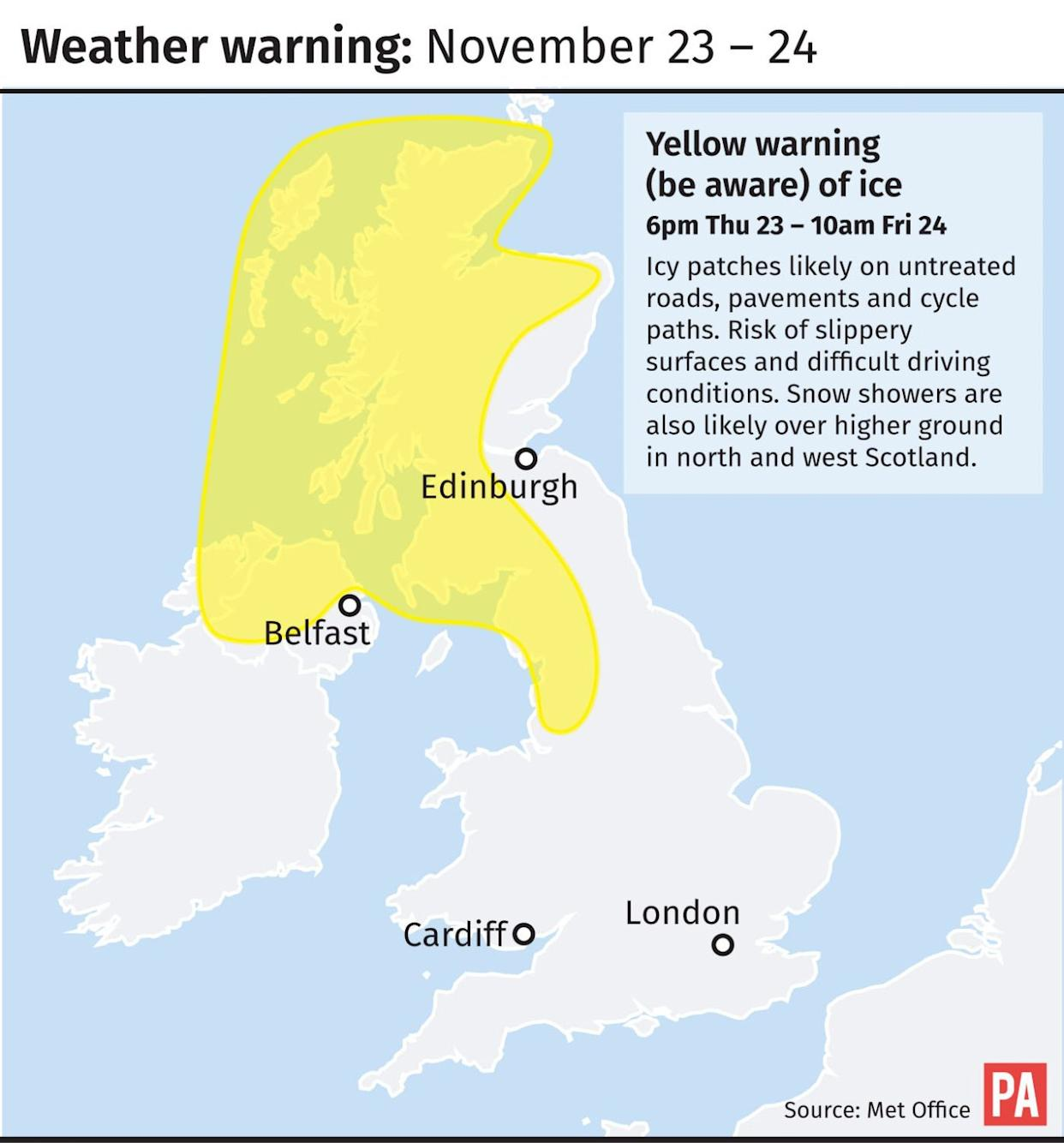 Weather warning November 23-24
