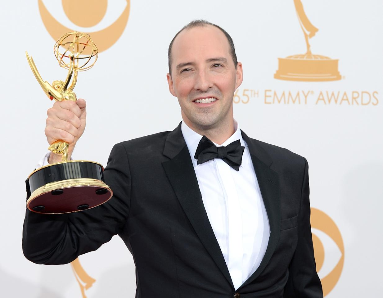 "LOS ANGELES, CA - SEPTEMBER 22: Actor Tony Hale, winner of the Best Supporting Actor in a Comedy Series Award for ""Veep"" poses in the press room during the 65th Annual Primetime Emmy Awards held at Nokia Theatre L.A. Live on September 22, 2013 in Los Angeles, California. (Photo by Jason Merritt/Getty Images)"