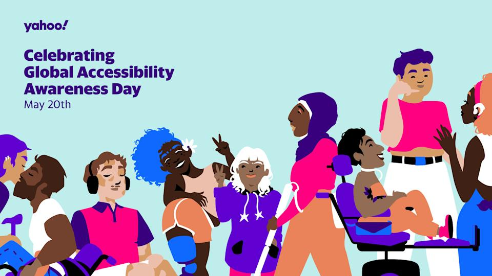 Art of 9 disabled people varying in gender, race, and size. Including a cane and manual wheelchair user, an Autistic person, someone with scoliosis and a prosthetic leg, a person with Down Syndrome, a Blind person, a Little Person in a power wheelchair, a person with chronic illness, and a Deaf person.