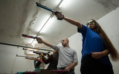 Teenagers at the Kazanlak shooting club - Credit: Simon Townsley