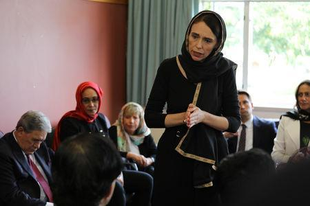 New Zealand Prime Minister Jacinda Ardern speaks to representatives of the Muslim community at Canterbury refugee centre in Christchurch, New Zealand March 16, 2019. New Zealand Prime Minister's Office/Handout via REUTERS