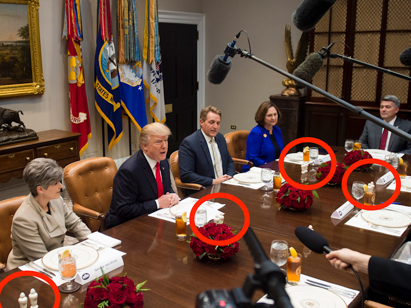 President Donald Trump speaks during a lunch meeting with Republican members of the Senate, including US Senator Joni Ernst (L), Republican of Iowa, US Senator Jeff Flake (2nd R), Republican of Arizona and US Senator Deb Fischer (R), Republican of Nebraska, in the Roosevelt Room of the White House in Washington, DC, December 5, 2017.