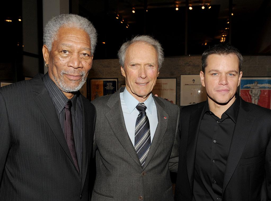 "<a href=""http://movies.yahoo.com/movie/contributor/1800020214"">Morgan Freeman</a>, <a href=""http://movies.yahoo.com/movie/contributor/1800019744"">Clint Eastwood</a> and <a href=""http://movies.yahoo.com/movie/contributor/1800020155"">Matt Damon</a> at the Los Angeles premiere of <a href=""http://movies.yahoo.com/movie/1810073710/info"">Invictus</a> - 12/03/2009"