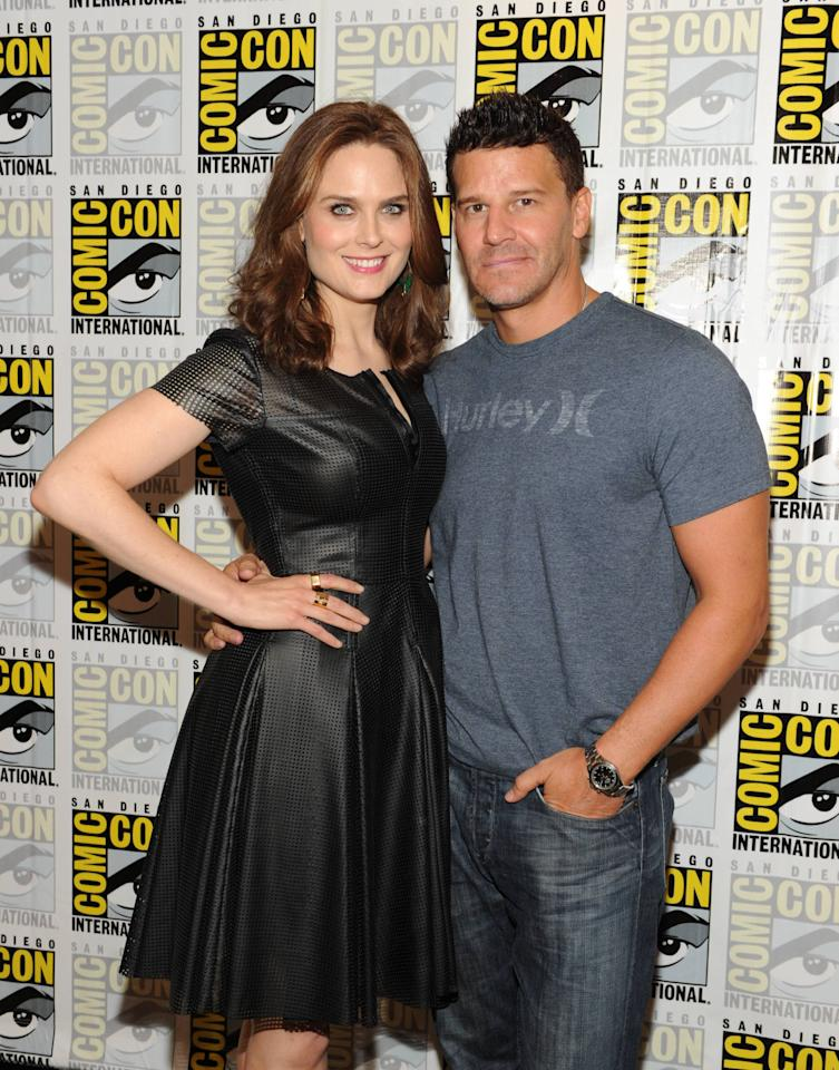 """Bones"" cast members Emily Deschanel and David Boreanaz on Friday, July 19 during Fox Fanfare at San Diego Comic-Con 2013."