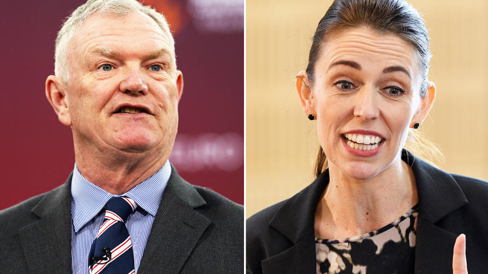 Greg Clarke and Jacinda Ardern, pictured here before the Women's World Cup vote.