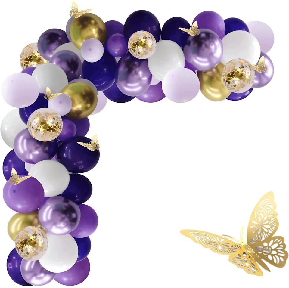 <p>Embrace the lavender and butterfly trend for the summer with this <span>132-Piece Purple and Gold Balloon Garland Kit</span> ($15).</p>