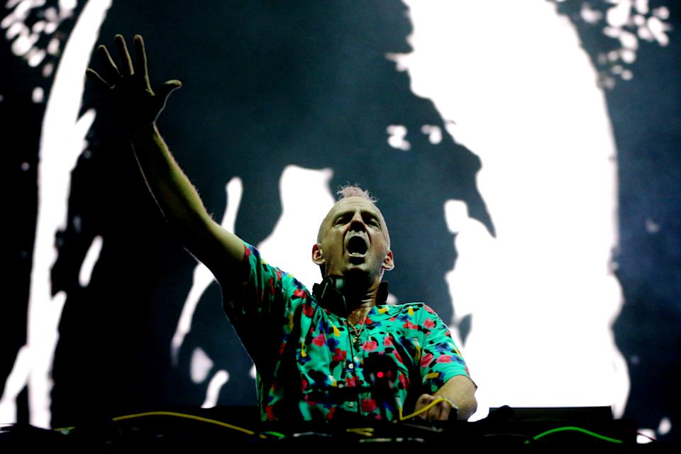 SYDNEY, AUSTRALIA - JANUARY 31: Fatboy Slim performs live at The Halls, Sydney Olympic Park on January 31, 2020 in Sydney, Australia. (Photo by Don Arnold/WireImage)