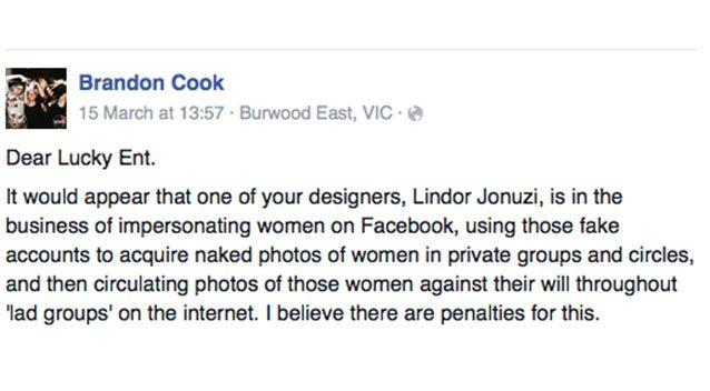 Jonuzi's offensive post was made public when his employer was notified on Facebook. Photo: Facebook