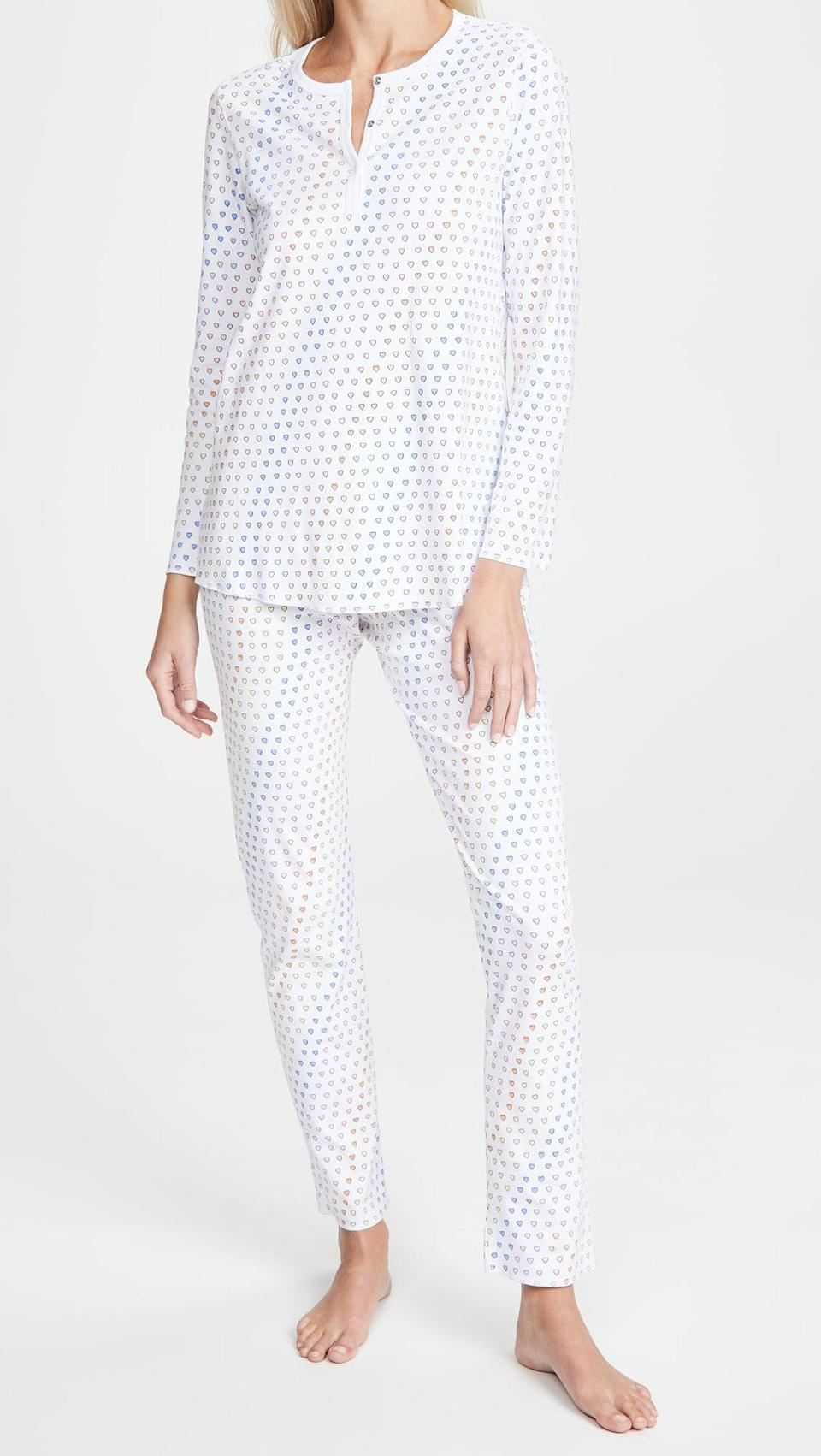 <p>These <span>Roller Rabbit Disco Hearts Pajamas</span> ($118) are cozy and fun. The rainbow hearts make us smile.</p>