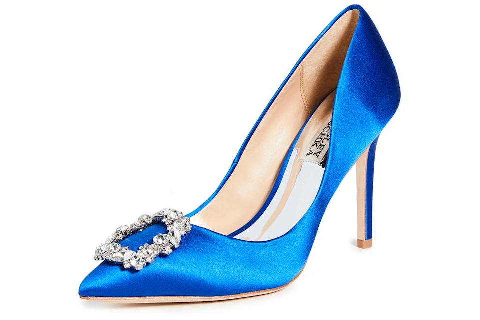 blue heels, sandals, badgley mischka