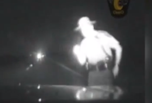 US Cop slams into motorcycle without slowing down
