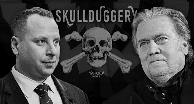 Sam Nunberg, Steve Bannon (Photo illustration: Yahoo News; photos: Zach Gibson/Getty Images, Sean Gallup/Getty Images, AP)