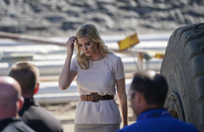 Ivanka looked predictably embarrassed at her father's words [Photo: AP]