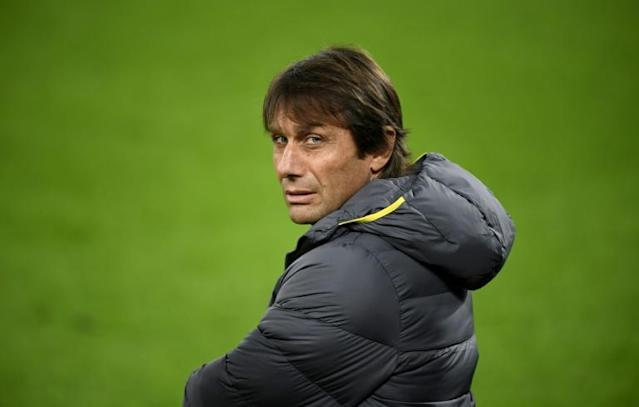 Antonio Conte's Inter Milan host Verona in Serie A after their Champions League defeat in Germany (AFP Photo/INA FASSBENDER)