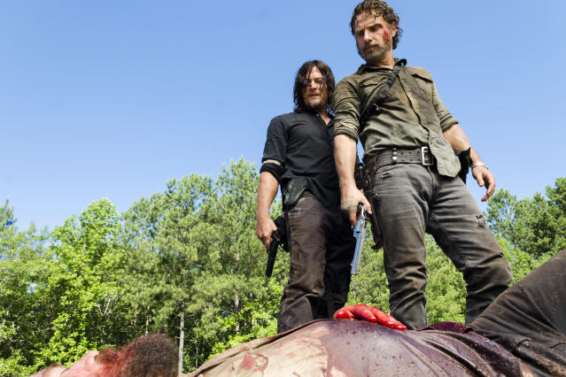 <p>Charles Halford as Yago, Norman Reedus as Daryl Dixon, Andrew Lincoln as Rick Grimes in AMC's <i>The Walking Dead.><br> (Photo: Gene Page/AMC)</i> </p>