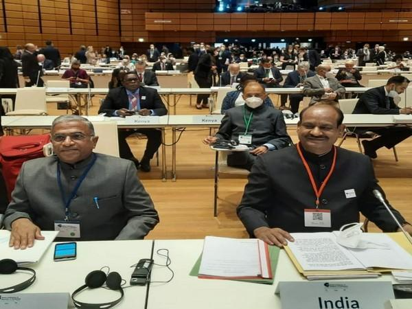 Lok Sabha Speaker Om Birla arrived at the inaugural session of the Fifth World Conference of the Speakers of Parliaments.
