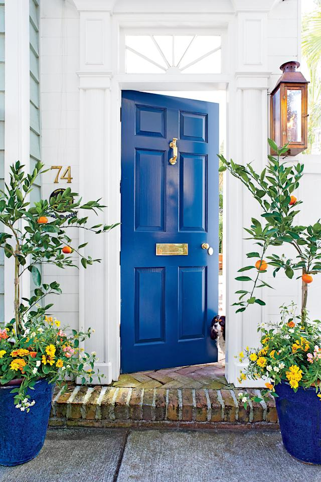 <p>Got the blues? Embrace spring with this zesty contrast to a beautiful cobalt blue door. Flanking the entrace are satsuma mandarin topiaries stuffed inside sapphire-glazed ceramic pots. Zinnias, lantanas, and cosmos in citrusy hues spill graciously out of the blue pots. </p>