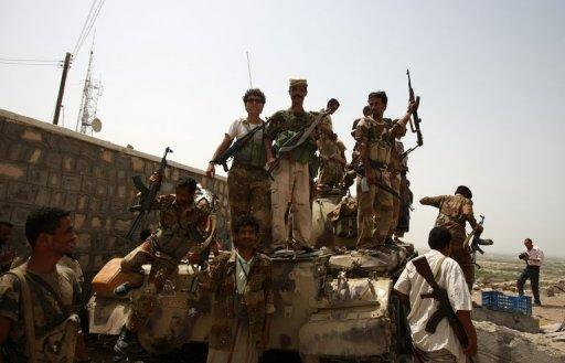 Yemeni soldiers celebrate in the southern city of Jaar in June 2012 after ousting Al-Qaeda militants. Yemeni troops killed the second in command of Al-Qaeda in the Arabian Peninsula, regarded by Washington as the jihadist network's deadliest branch, in a raid in the east, the defence ministry news website said on Monday