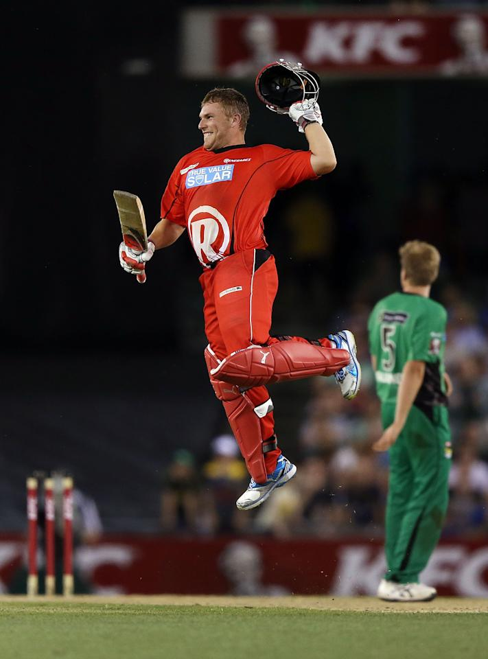 MELBOURNE, AUSTRALIA - DECEMBER 07:  Aaron Finch of The Renegades celebrates hitting the winning run during the Big Bash League match between the Melbourne Renegades and the Melbourne Stars at Etihad Stadium on December 7, 2012 in Melbourne, Australia.  (Photo by Michael Dodge/Getty Images)